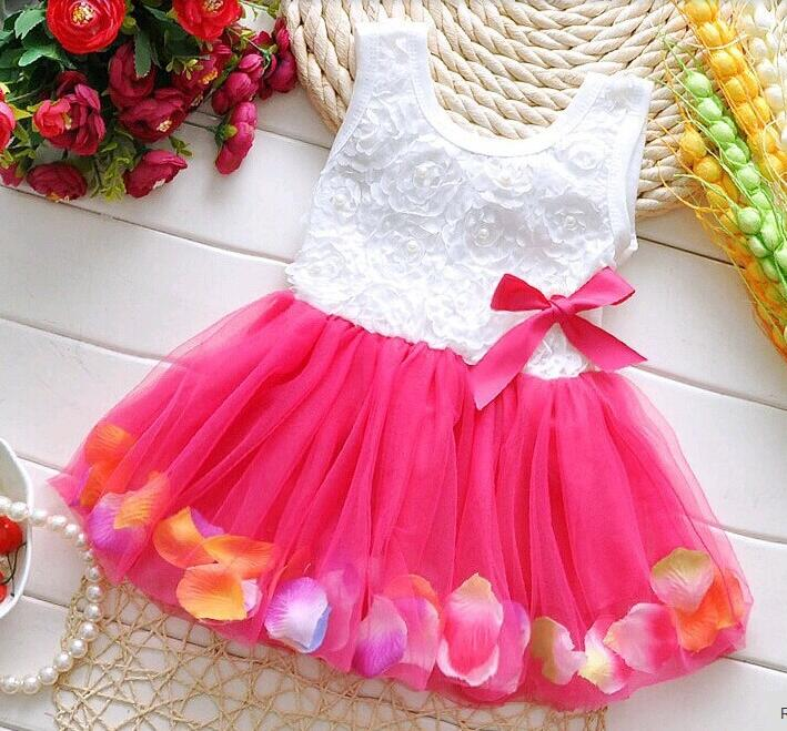 Summer baby Princess dress Cotton infant Baby Colorful Dress Fairy Tale Petals Chiffon Newborn Baby Gift party clothes