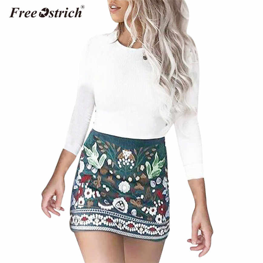 3f3b64557b77 Free Ostrich Mini Skirt Women Floral Short Vintage Print A-Line High Waist  Pencil Skirts