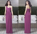 Charming One Shoulder Wedding Party Gowns 2015 High Quality A-line Long Chiffon Lilac Bridesmaid Dress for Weddings(BD-129)