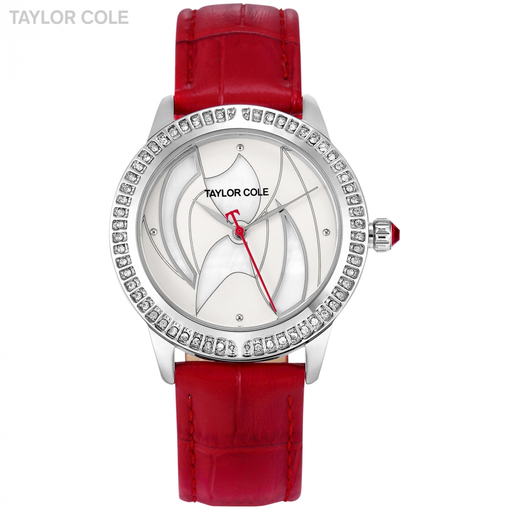 Fashion Taylor Cole Women Watch Sliver Alloy Case Crystal Dial Red Leather Strap horloges vrouwen Ladies Wrist Watches / TC124 taylor cole relogio tc013