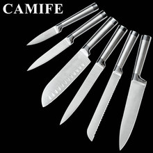 Stainless Steel Set Kitchen Knives Set Accessories Fruit Paring Utility Santoku Chef Slicing Bread Japanese Kitchen Knife Set(China)