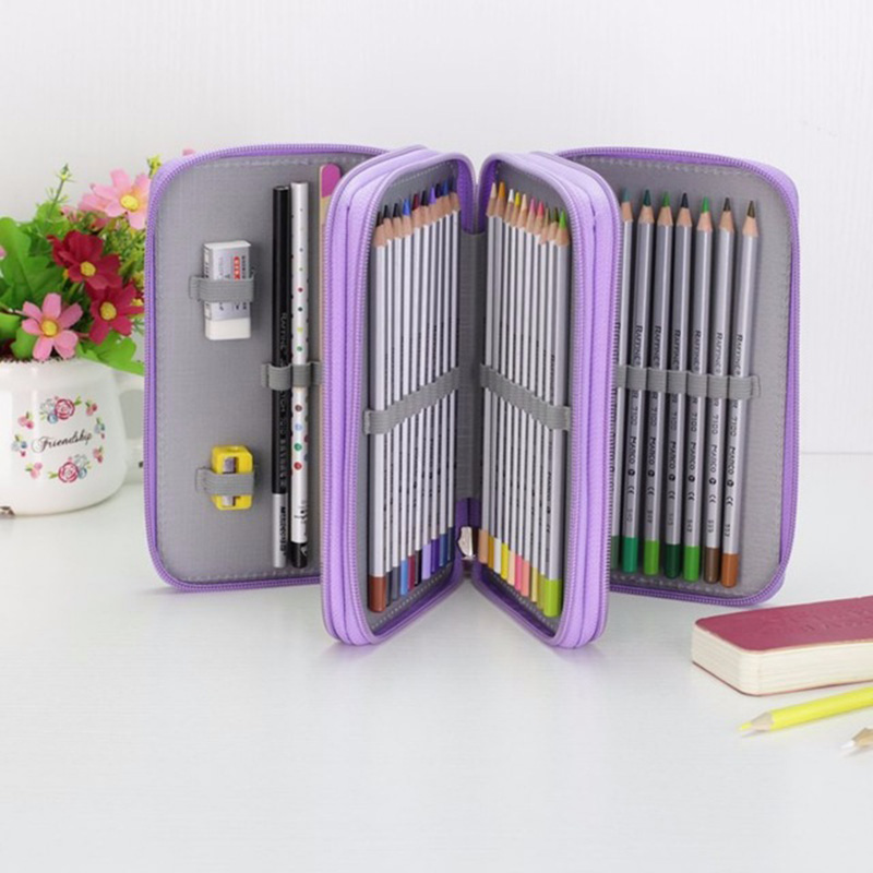 Cute School Pencil Case Kawaii 36/48/72 Holes Penal Pencilcase for Boys Girls Large Pen Bag Box Multifunction Stationery Pouch cute canvas roll school pencil case maple leaf 36 48 72 holes penal pencilcase for girls boys large pen bag stationery pouch box