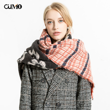 [OuMo] brand high quality shawl women's scarf Double-sided stitching printing Thicken Designer large size Warm 210*80CM