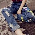 2017 Fashion Harem Denim Jeans Woman Casual Vintage Ripped Cartoon Printed Loose Mid Waist Jeans Pencil Pants NZKnana30