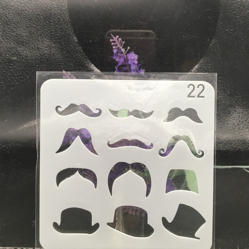 15cm Gentleman Hat Mustache DIY Layering Stencils Wall Painting Scrapbook Coloring Embossing Album Decorative Card Template