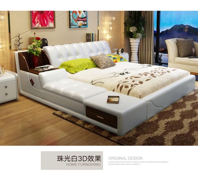 אמיתי אמיתי עור מיטת מסגרת מודרני רך מיטות עם אחסון בית חדר שינה ריהוט cama muebles דה dormitorio/camas quarto
