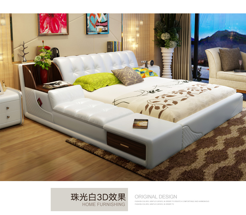 Hot Sale Real Genuine Leather Bed Frame Modern Soft Beds With
