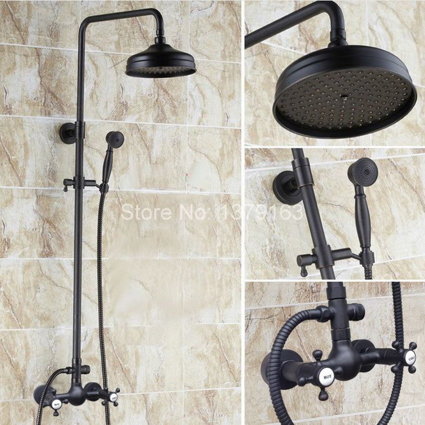 Bathroom Double Cross Handles Black Oil Rubbed Brass Wall Mounted Rain & Hand Shower Faucet Mixer Tap Set ars497