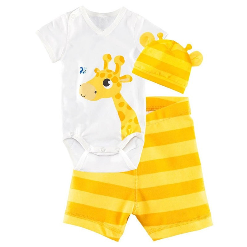 Popular Brand Summer Cute 3pcs Rompers Hat Pants Baby Boys Girls Clothing Set Cartoon Animal Toddler Infant Cotton Short Sleeve Jumpsuit Sets Last Style