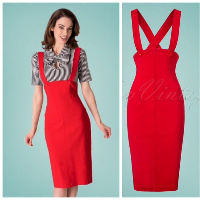e295140f05a 40- women vintage 50s pinup high waist jumper pencil skirt in red plus size  wiggle brace saia skirts jupe