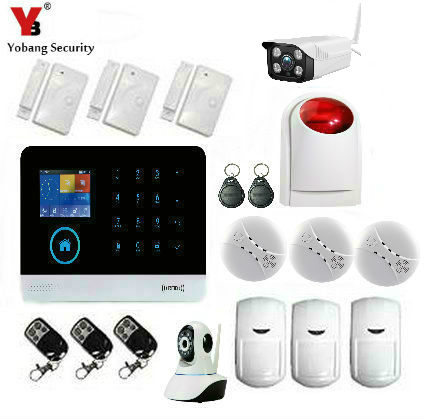 YobangSecurity WIFI GSM Wireless RFID Home Security Alarm System DIY Kit with Auto Dial Outdoor Wifi IP Camera Android IOS APP yobangsecurity wireless gsm wifi home security burglar alarm system kit auto dialing dialer android ios app wireless siren
