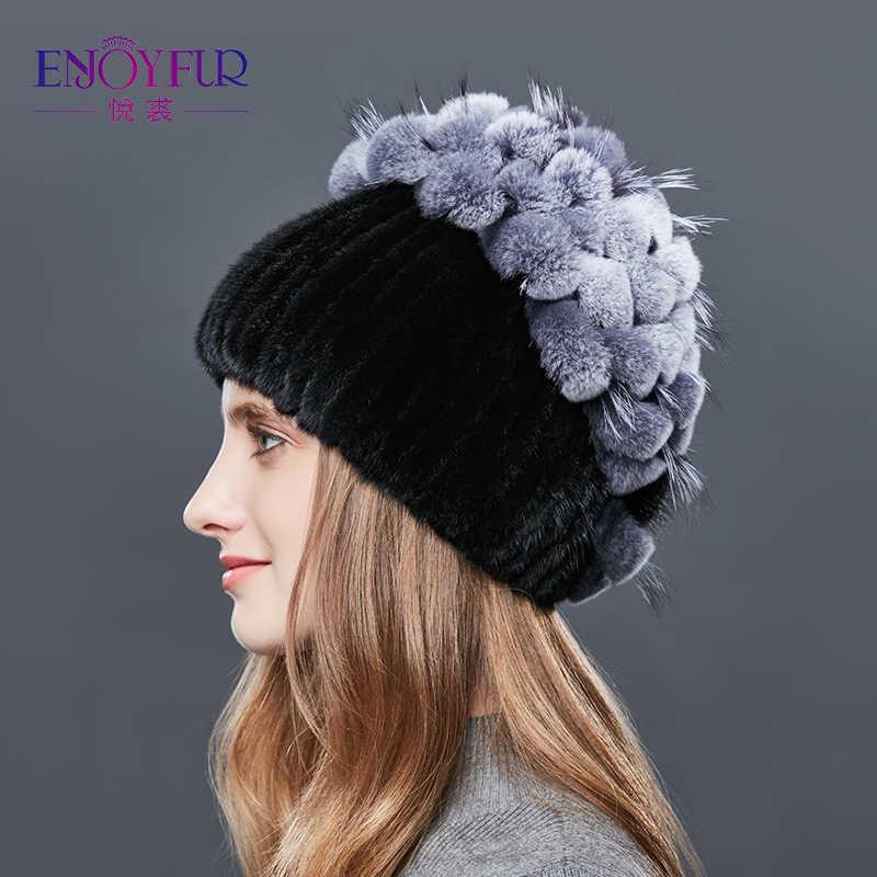 ENJOYFUR Real Mink piel de las mujeres sombreros de invierno en forma de  corazón Rhinestones conejo fe6116686ec