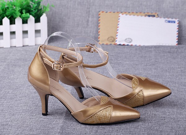 Pointed Toe Ankle Buckle High Heels Ladies Golden Shoes New 2016 Patchwork Patent PU Leather Ladies