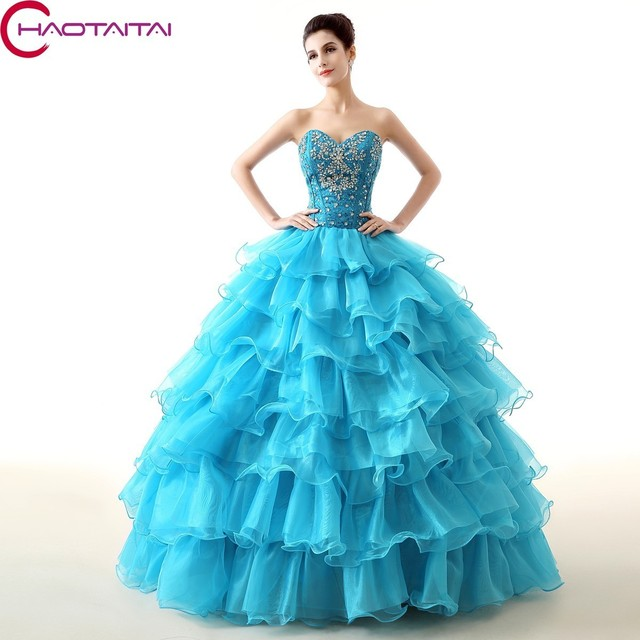 493bcee0f9c New Arrival 2018 Beaded Puffy Ball Gowns Blue Red Purple Quinceanera  Dresses Sweetheart neck