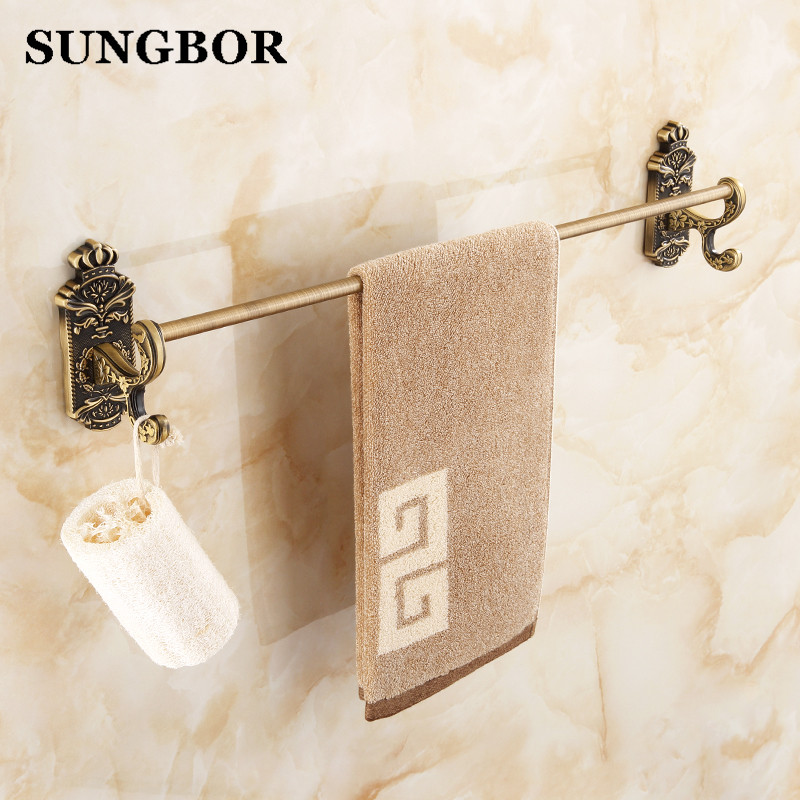 antique single towel bar crown towel bar holder towel rack solid brass made high quality vintage bathroom accessories