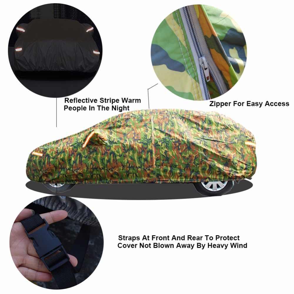 Kayme su geçirmez kamuflaj araba kapakları açık güneş koruma kapağı için araba reflektör toz yağmur kar koruyucu suv sedan tam