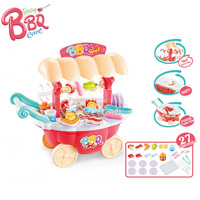 Sound Light Rotating BBQ Trolley Kids Kitchen Set Toys for Children kitchen Girls Boys Pretend Play Miniature Food Cooking Toy