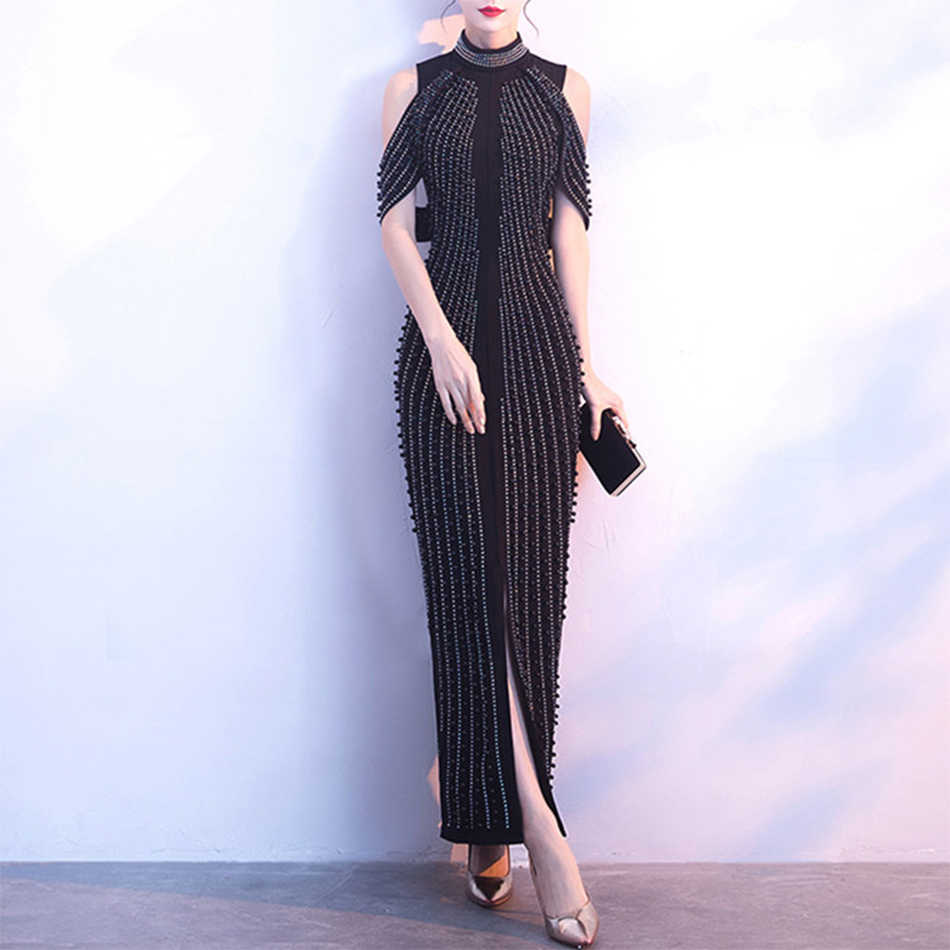 Новые летние знаменитости вечерние платье Для женщин черный, белый цвет без рукавов с высоким, плотно облегающим шею воротником Бисер сексуальное ночное платье Для женщин оптовая продажа, Vestidos
