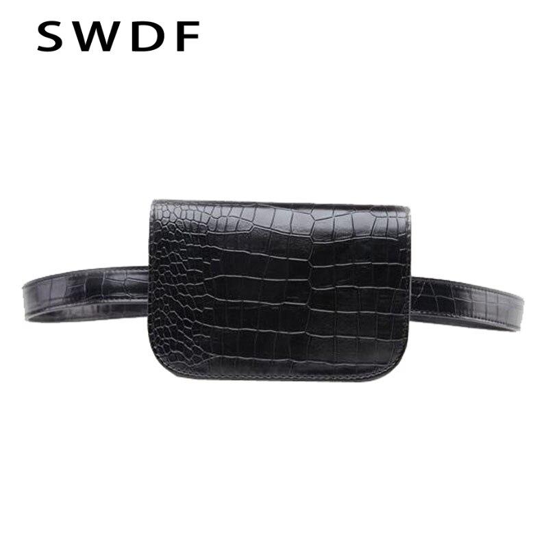 SWDF Vintage Waist Bag Women Alligator PU Leather Belt Bag Waist Pack Travel Belt Wallets Fanny Bags Ladies Fit 5.5 Inches Phone