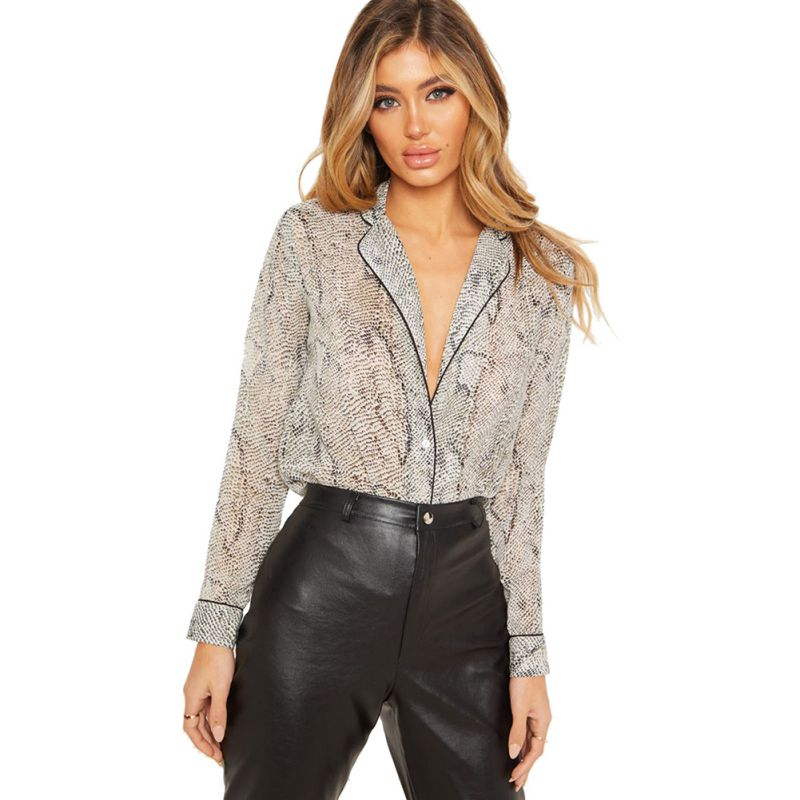Fashion Europe Style Temperament Snakeskin Print Women Ladies Single-breasted Lapel Long Sleeve Loose Casual Blouse Shirt Tops