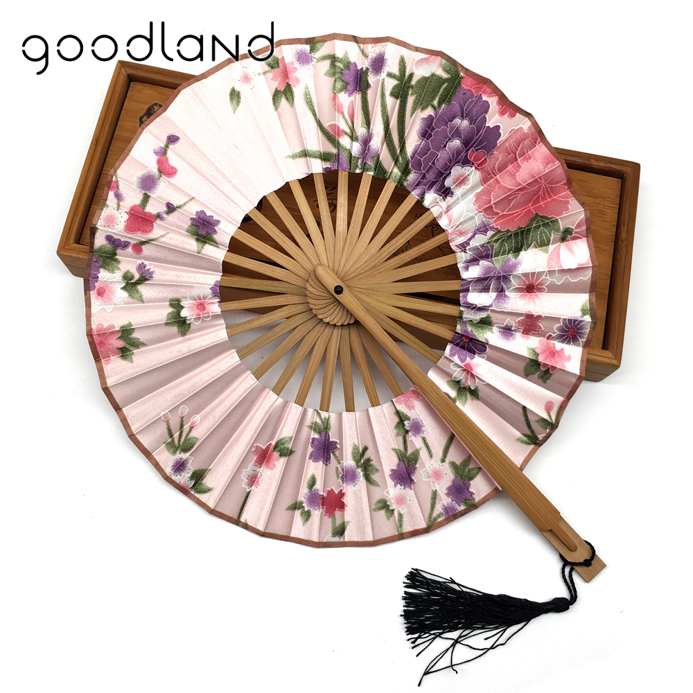 Free Shipping 10pcs Japanese Style Charming Floral Print Spun Silk Bamboo Hand Fan in Gift bag