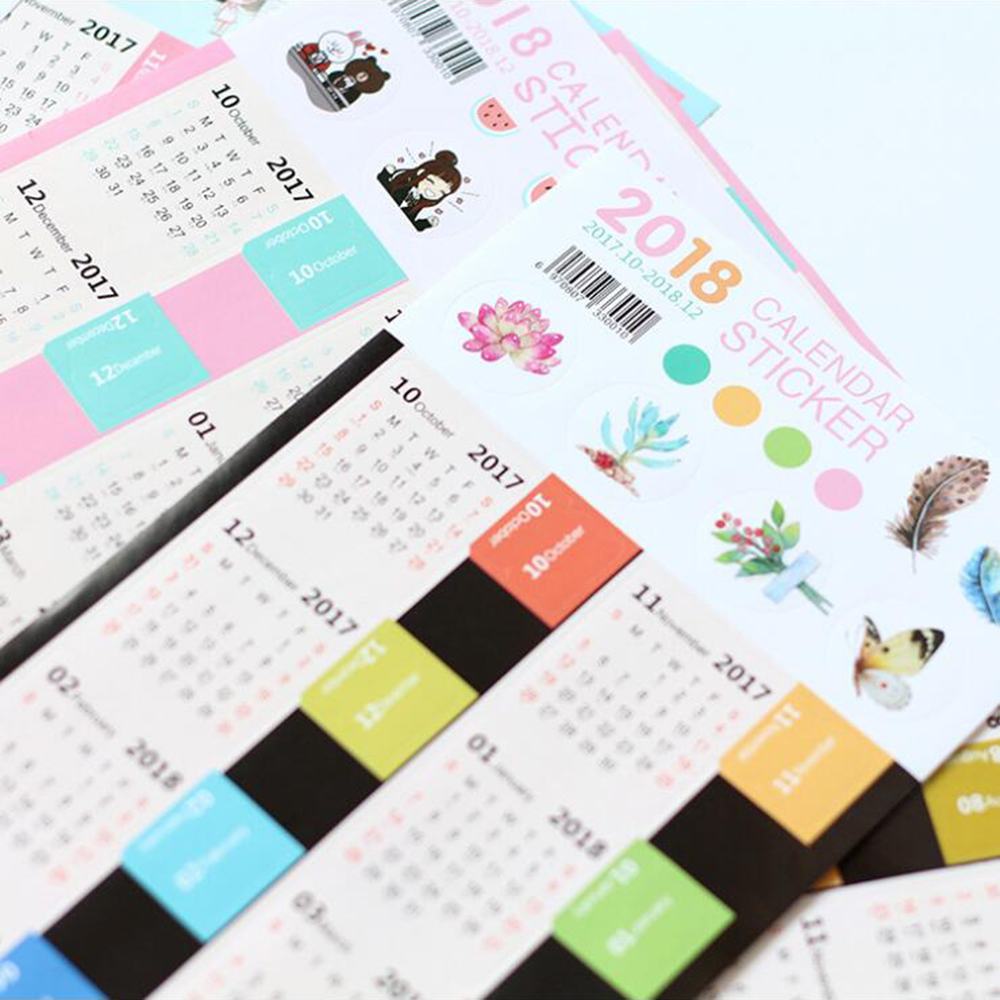 2018 Calendar Paper Label Counter Mark Sticker Creative Cute Mini Self-adhesive 2018 Notebook's Index Stickers Tags dhl self adhesive matte white a4 kraft paper square label library book shipping label print stickers fit laser inkjet printer