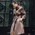 INU010 Новое Прибытие классические случайные однобортный с поясом длинные свободные женщины пальто осень 2016