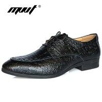MVVT Cuoio Genuino della mucca Uomini Oxfords Scarpe di Vestito di Affari Degli Uomini di Qualità Calzature comfort scarpe da uomo formale Del modello Del Coccodrillo