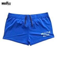 Мужские шорты для бодибилдинга MUSCLE ALIVE, хлопковая Спортивная одежда для тренировок, бега, бега
