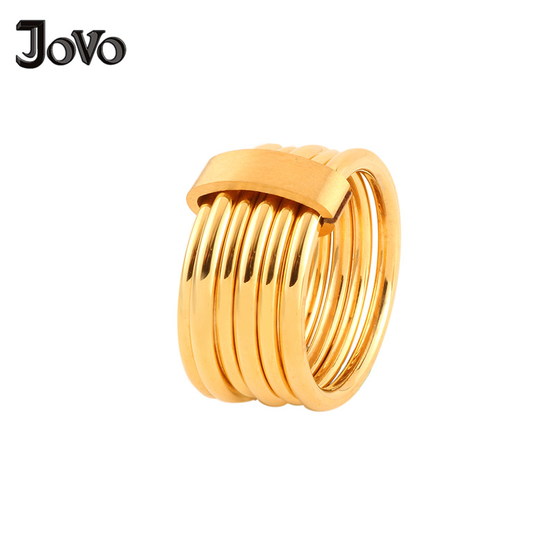 Fashion Gold Color Circel Rings Women Jewelry High Quality Multi Round Circle Movable Stainless Steel Rings for Weeding Party ...