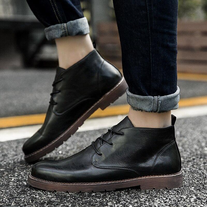 Shoes896 noir Automne Mode Brown Cheville Bottes Top Cuir Lace En Casual De Homme Respirant Martin Loisirs D'affaires Hommes Up Haute THATF