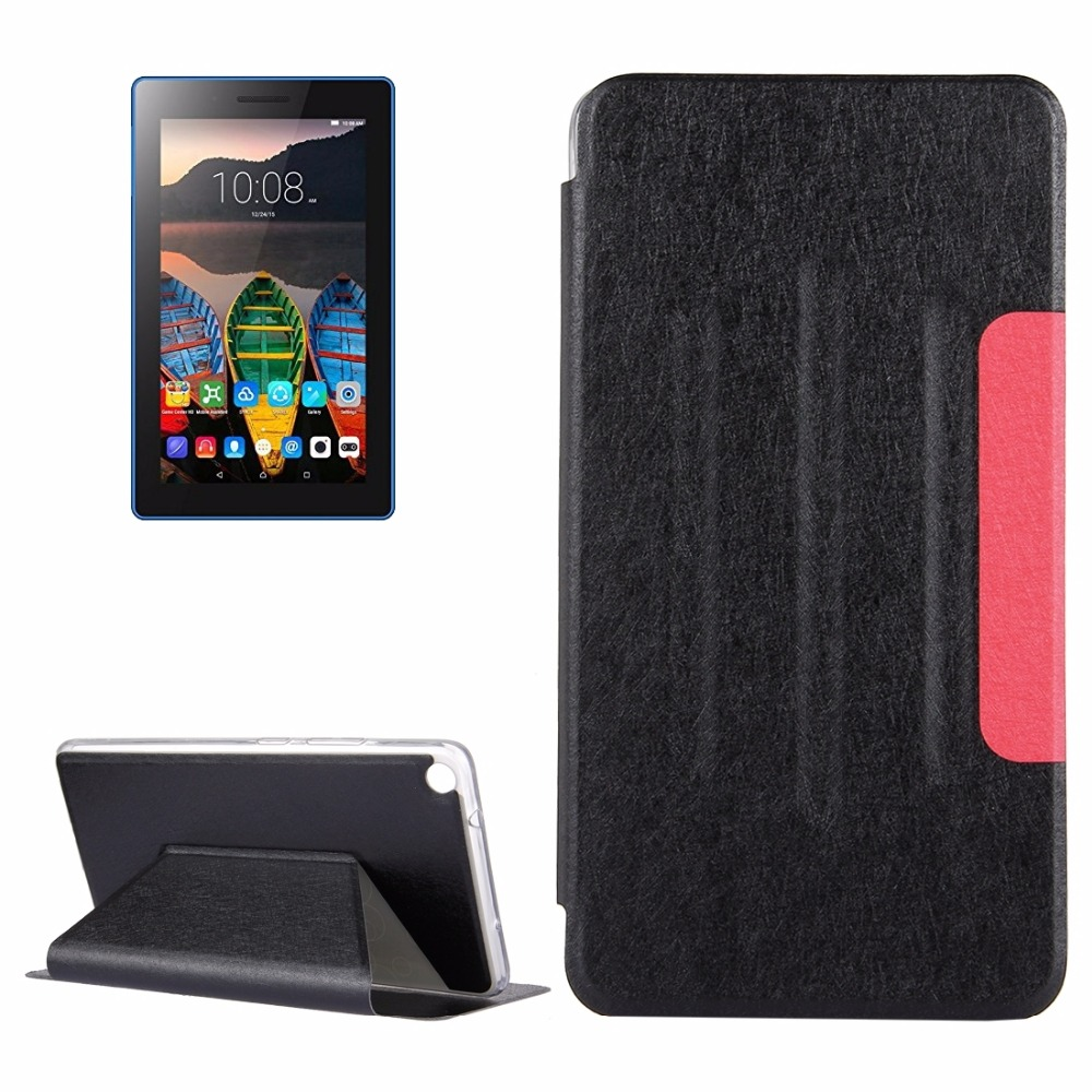 Case Cover for Lenovo Tab3 7 Plus / 7703X Silk Texture Horizontal Flip PU Leather Case with Holder купить дешево онлайн