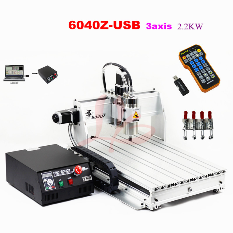 2.2KW USB port 6040 cnc router machine with mach3 control limit switch wood metal lathe russain no tax usb port 6040 cnc lathe machine 3 axis router wood cnc milling machine cutting 1 5kw