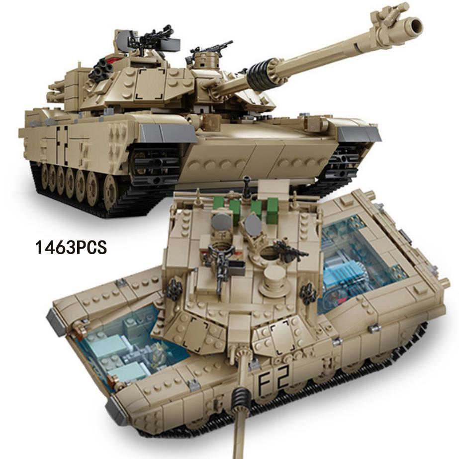 1:28 scale World war modern military block M1A2 Abrams Main Battle Tank model Crawler Hummer jeep 2in1 brick ww2 army figure toy