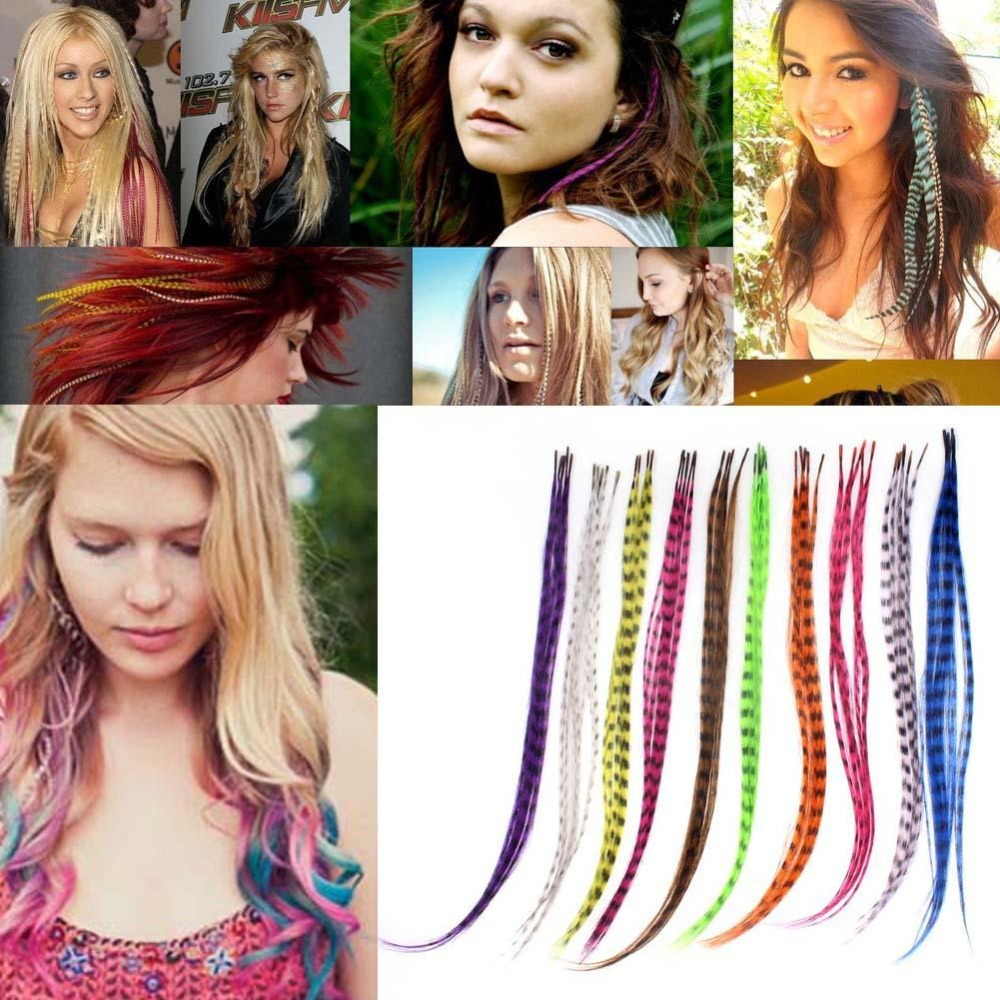 10Pcs Straight Multicolor Synthetic Hair Feathers Human Hair Extensions Party Hair Styling Accessories DIY Decoration 16 Inch