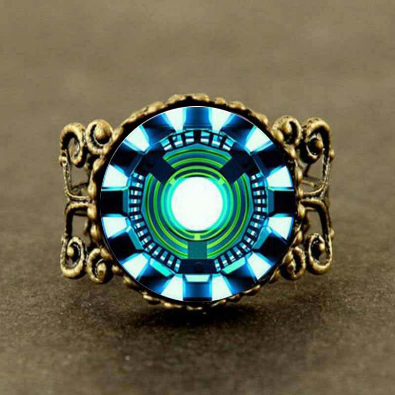 Iron Man Arc Reactor Tony Stark arc reactor Ring Jewelry women men gift vintage antique charm vintage 2017