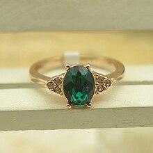 USTAR зеленый Цирконий Кристалл обручальные кольца для женщин розовое золото цвет 4 зубец установка кольца женские anel вечерние подарок высокое качество