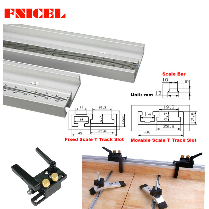 45mm Slot Miter Track Slot Aluminum Alloy T-Tracks With Scale And Miter Track Stop Router Table Saw Woodworking DIY Tools