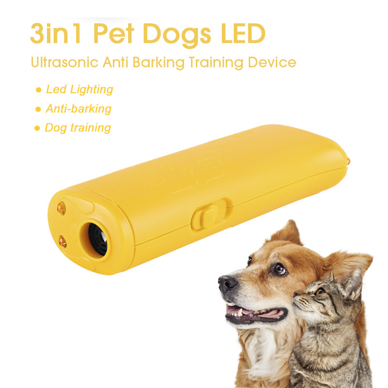Pet Dog Repeller Stop Barking Training Device LED Ultrasonic 3 in 1 Stop Bark Trainer Without Battery(China)