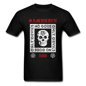 Punk Rock Tees New Samhuinn 666 Baphomet Dead Skull Image Lucifer Tops Shirts For Men Personalized T Shirt Java image