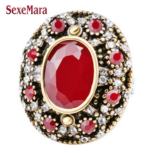 5 colors Vintage Jewelry Ancient Color Mosaic AAA Crystal Big Oval imitated Garnet Ring For Women Wedding jz199 anel