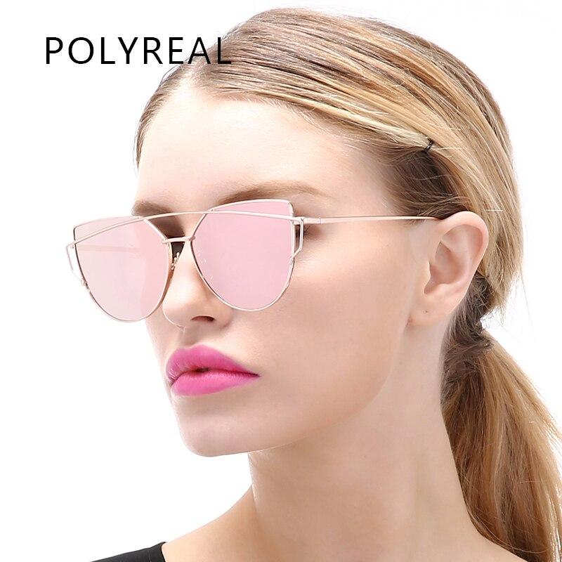 7c47fc2b36 POLYREAL oro rosa de ojo de gato gafas de sol mujer marca diseñador mujer  doble vigas espejo gafas de sol de ojo de gato gafas de sol UV400