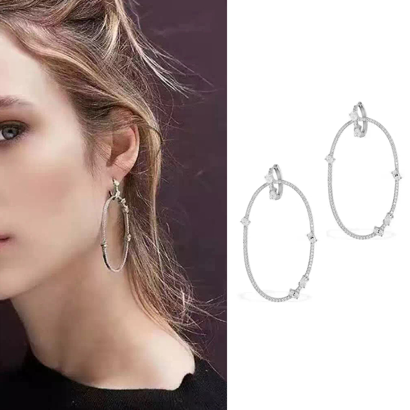 New Arrival Hoop Earrings For Women White Zircon Rhinestones Unique Design Brand Earrings Fashion Wedding Jewelry AE165