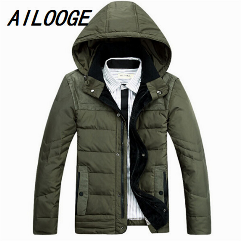 AILOOGE Free Shipping 2017 New Winter Men Thick Down Hooded Jacket Outerwear Fashion Mens Down Parka Coat