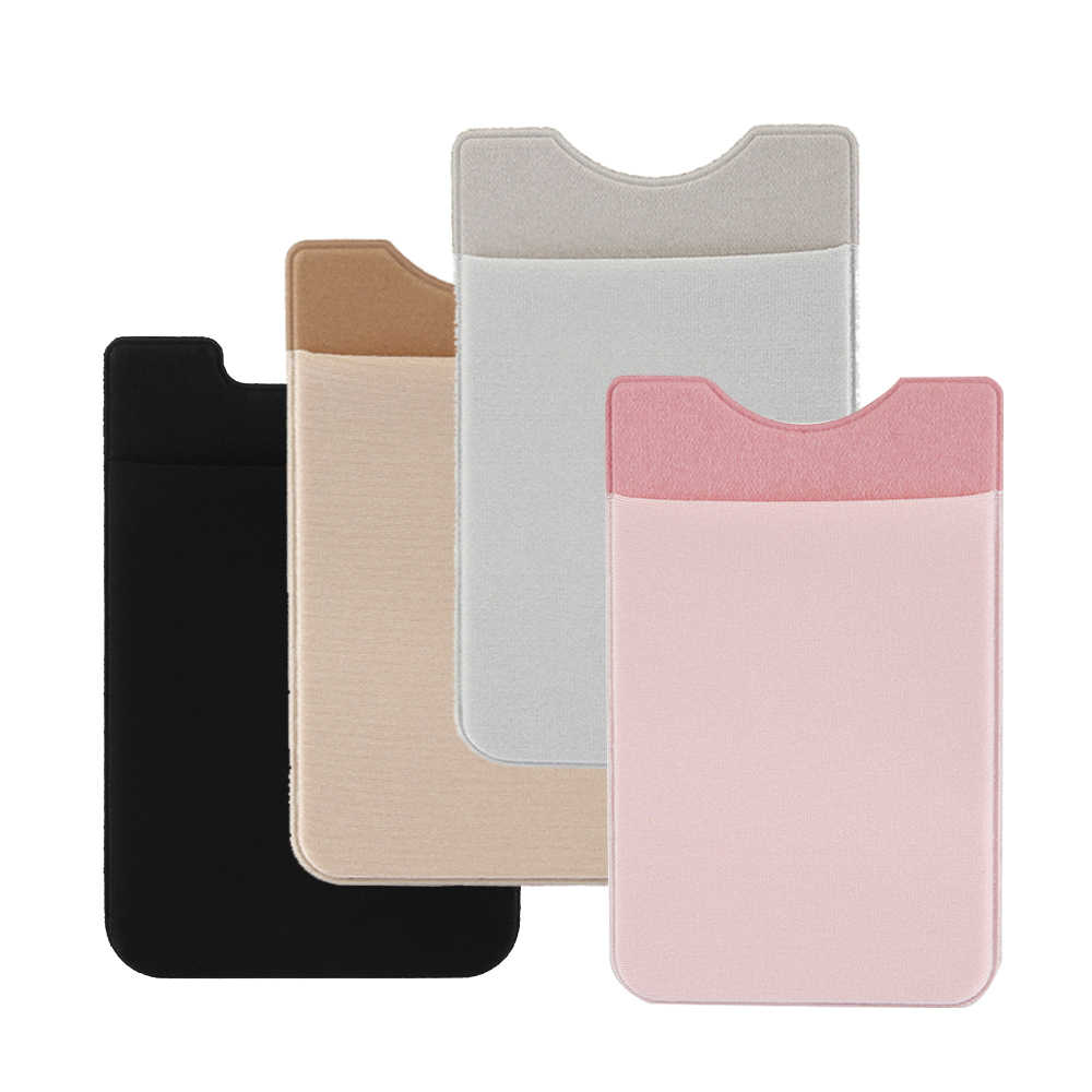Fashion Elastic Mobile Phone Wallet Credit ID Card Holder Pocket Adhesive Sticker Lycra Cellphone Card Holder for Men Women