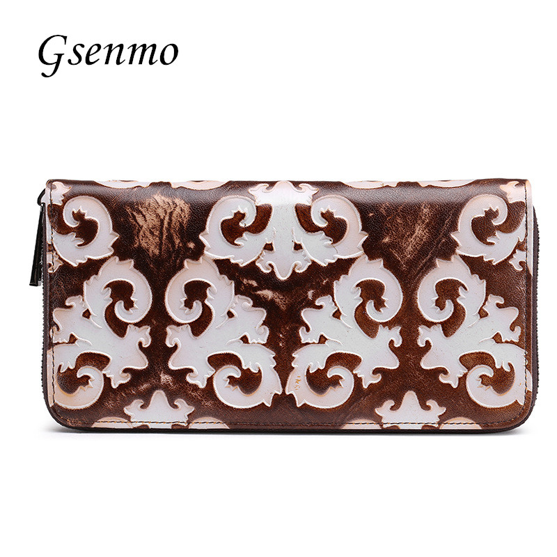 Women Wallets Brand Design High Quality Genuine Leather Wallet Female Flower Fashion Long Purse Card Holder Dollar wallet brand women wallets dollar purse genuine leather wallet card holder luxury designer clutch business long wallet high quality