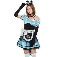 Nueva llegada Alicia en el país de las Maravillas traje Cosplay vestido  azul pajarita Disfraces Lolita de mujer trajes de Hallow. d2d85fdf3a2e
