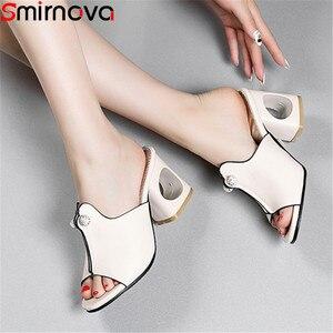 Image 1 - Smirnovaプラスサイズ 34 48 ファッション夏新靴女性の正方形のハイヒールの靴女性カジュアルサンダル女性 2020 夏の靴