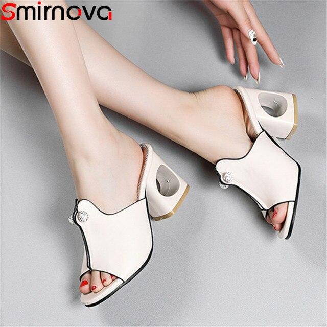 Smirnovaプラスサイズ 34 48 ファッション夏新靴女性の正方形のハイヒールの靴女性カジュアルサンダル女性 2020 夏の靴