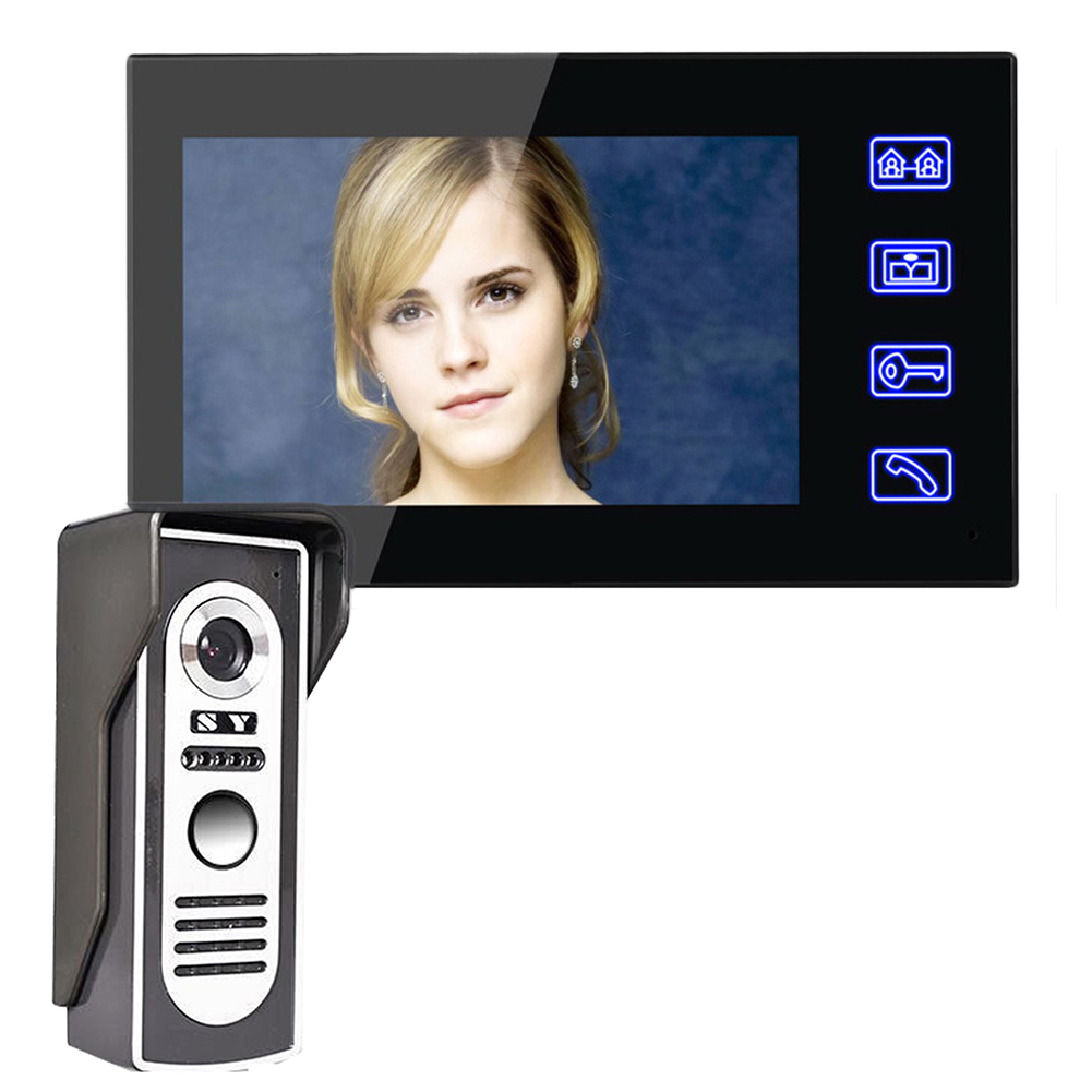 High Quality Professional Touch 7'' Video Door Phone Doorbell Intercom Kit 1-camera 1-monitor 1 Camera To 1 Monitor